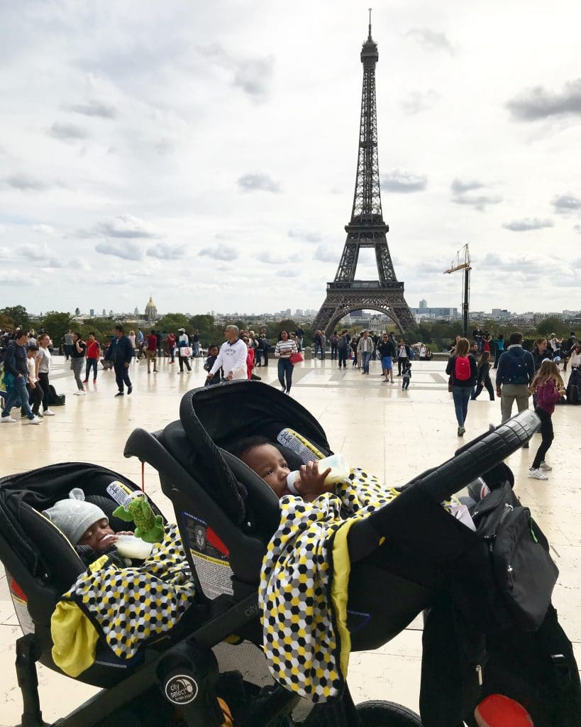 Kids Travel Must-Have- Double Stroller and Eiffel Tower